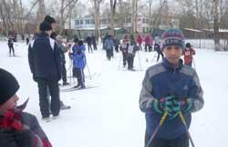 Соревнования по лыжным гонкам.